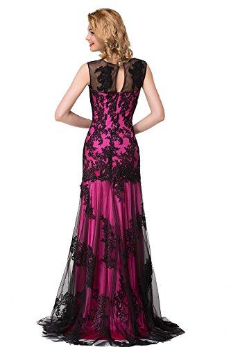 Babyonlinedress Sexy Elegant Robe de soirée/Bal/Cérémonie Longue au sol avec traîne en Dentelle Lacet avec Appliques Fuchsia