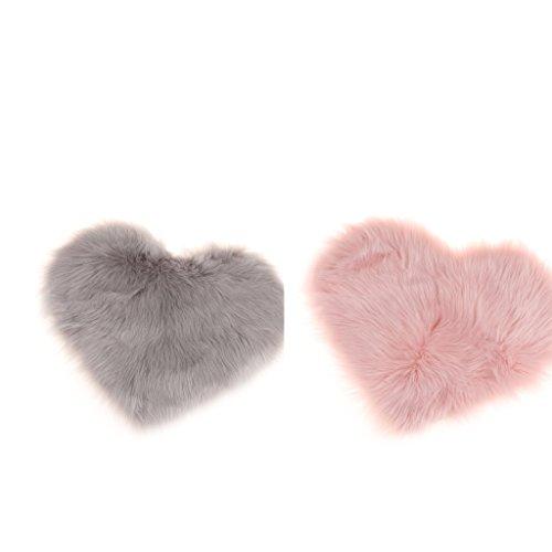 F Fityle 2er Set Herz Form Teppich Kunstfell Flauschige Teppiche Bodenmatte Bettvorleger Plüsch Kinderteppich -