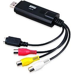 August VGB100 Enregistreur Convertisseur de Vidéo/Audio - Carte de Capture Vidéo USB 2.0 - Câble de Transfert S-Vidéo/RGB à USB - Compatible avec Windows 7 / Vista / XP