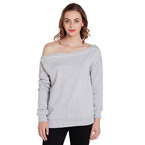 Femella Women's Grey Off Shoulder Sweatshirt