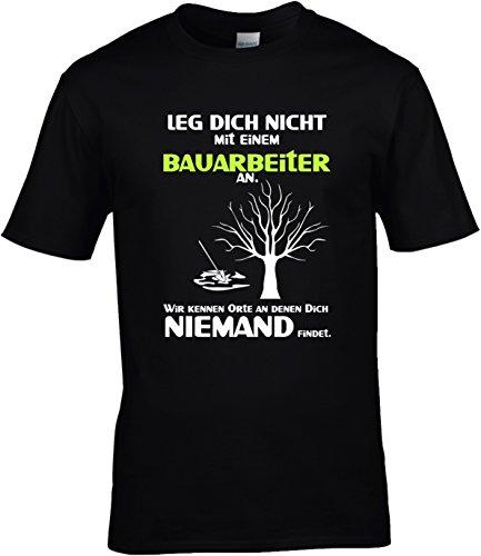 Fun Shirt Herren Leg Dich nicht mit einem Bauarbeiter an Sprüche Bau Leg Dich niemals mit Schwarz