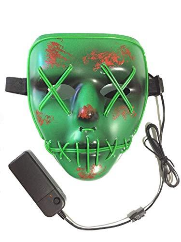 ske, 3 Verschiedene Blinkmodi Elektronik Maske, Party Leuchtmaske (Grün-Grün) ()