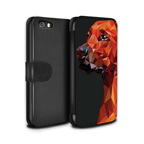 Stuff4® PU-Leder Hülle/Case/Tasche/Cover für Apple iPhone 5/5S / Hund/Labrador Retriever Muster/Geometrisches Tier Tierwelt Kollektion (Iphone 5 Fällen, Tiere)