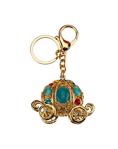 Avaron Projekt Blue And Gold Vintage Cart With Cute Swarovski Detailing Handbag Charm Key Chain / Purse Charm For Women  available at amazon for Rs.499