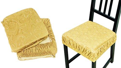 Takestop® set 6 coprisedia cuscini beige panna con fascia elastico cuscino per sedie imbottito sfoderabile trama casuale