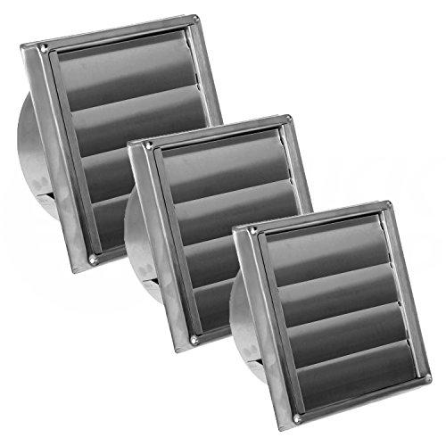 MKK - 10798-004 - Edelstahl Ablufthaube Lüftungsgitter Abluftgitter für außen säurebeständig für Abluftsysteme Edelstahlgitter mit Lamellen Ø 100 mm (Abluft-jalousie)