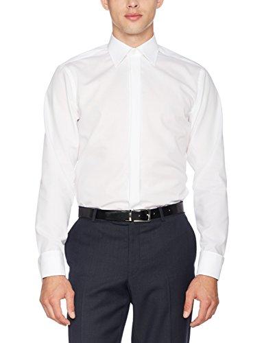 Seidensticker Herren Businesshemd Modern Langarm mit Kent-Kragen und Umschlagmanschette aber ohne Manschettenknopf bügelfrei,Weiß (01 weiß), 46 CM