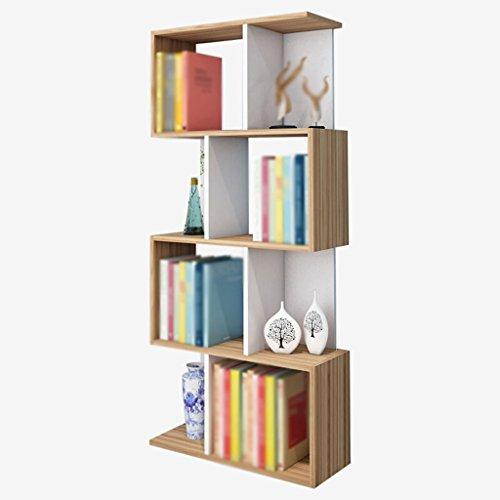 DFHHG® Bücherregal Bücherregal Schlosser Walnuss Farbe Freie Kombination 3 Schichten 4 Schichten dauerhaft ( größe : 60*24*138cm ) - Walnuss-drei Schichten