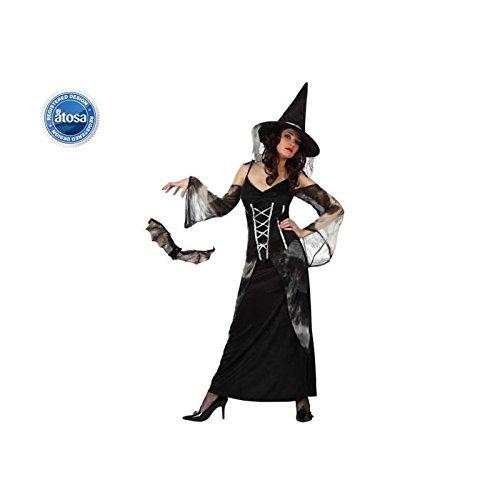 Atosa 8422259103585 - Verkleidung Hexe mit transparenten Ärmeln, Erwachsene (Stores Victoria Halloween)