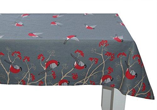beties Beeren Vögel Tischdecke ca. 130x220 cm in interessanter Größenauswahl hochwertig & angenehm 100% Baumwolle Farbe stone