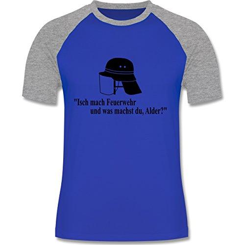 Feuerwehr - Ich mach Feuerwehr und was machst Du - zweifarbiges Baseballshirt für Männer Royalblau/Grau meliert