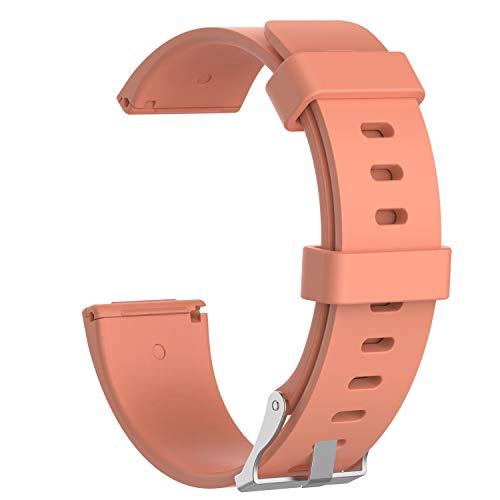 Yooger Sport Armband Kompatibel Versa/Lite Edition, Soft Silikon Ersatz Armband Kompatibel Fit bit Versa/Fit bit Versa Lite Edition Smartwatch (Groß, Pfirsich)