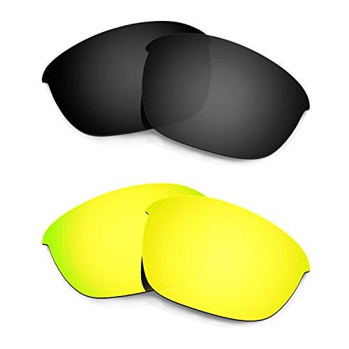 HKUCO Mens Replacement Lenses For Oakley Half Jacket 2.0 Black/24K Gold Sunglasses