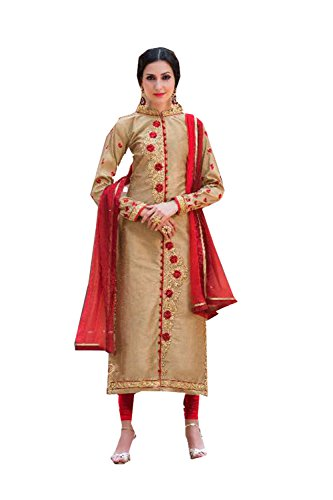 Fashions Biz Indian Women Designer Party wear golden Anarkali Salwar Kameez K-5817-53510 (Kameez Chiffon Gelb)