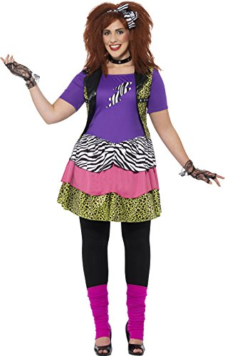 Kostüme Chick Rock (Smiffy's 44658X1 - Damen 80er Jahre Rock Chick Kostüm, Größe: 48-50,)
