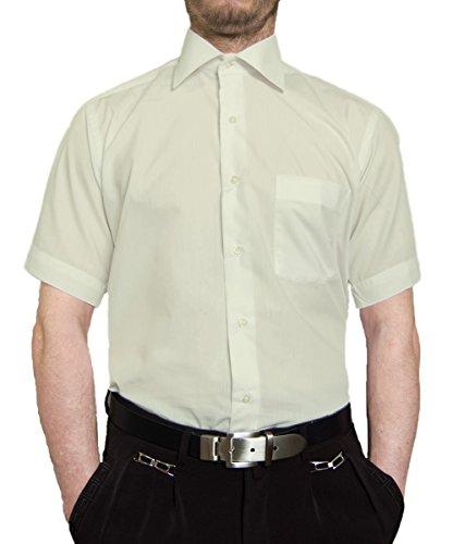 Designer Herren Hemd Cremefarben Bügelleicht Klassischer Kragen Herrenhemd Kentkragen Kurzarm Größe M 39 -