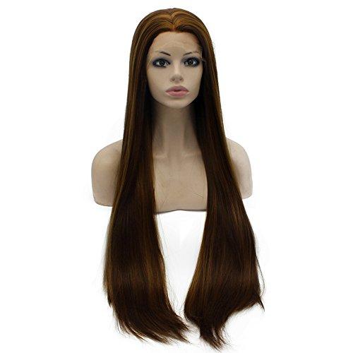 Iwona Long droites Lace Front Cheveux synthétiques Perruque Brune de valeur naturelle de la main Tied résistant à la chaleur Perruque Marron