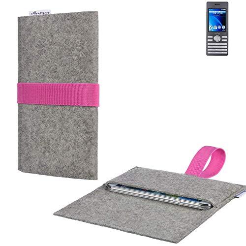 flat.design Handy Tasche Aveiro mit Filz-Deckel und Gummiband-Verschluss für Kazam Life B6 - Sleeve Case Etui Filz Made in Germany hellgrau rosa - passgenaue Handyhülle für Kazam Life B6