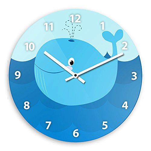 Wanduhr mit Wal-Motiv für Kinder | Kinderzimmer-Uhr | Kinder-Uhr