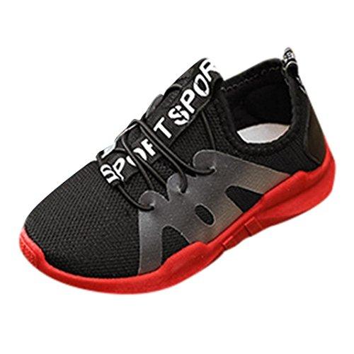 QinMM Kinder Schuhe Kind Jungen Mädchen Brief Sport Lauf Stil Mesh Sneaker Freizeitschuhe Sommer Laufschuhe Rot Schwarz 25-36 (33, Schwarz) - Schuhe Schwarze 9t