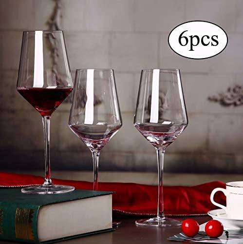 Transparentes Bleifreies Kristallglas Weinglas Schlichtes und Stilvolles Mundgeblasenes Burgunder-Weinglas 6er-Set Geeignet für Verschiedene Weinsorten Pinot Noir, Gamay, Zweigelt, St. Laurent usw