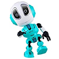 Talking Robots for Kids-Mini Robot Travel Toy with Posable Body, Smart Educational Stem Toys-Repeats What You Say,Colorful Flashing Lights-Interactive Toy Boys Girls