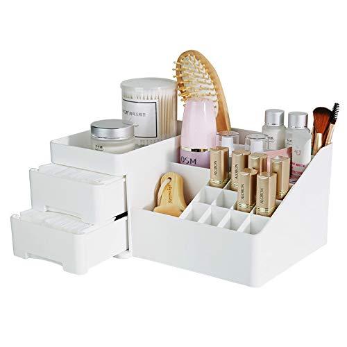Wuyue Hua Maquillage Boîte de Rangement Petite Taille Cosmétique Organiseur Multicouche Clair tiroir pour Salle de Bain Chambre à Coucher Coiffeuse White