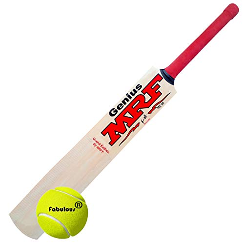 MRFF Genius Virat Kohli Popular Willow Cricket Bat with Ball (Size 4)