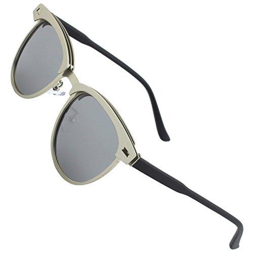 CGID Polarisierte Nerd Matt Verspiegelt Sonnenbrille Stil Modische Retro Vintage Für Herren Und Damen Unisex Brille 100% UV400 Schutz Ultra Leicht- 52, D Silber Silber