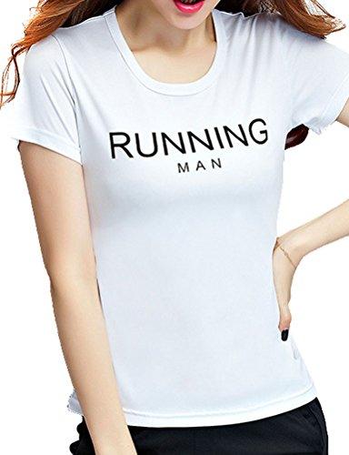 Nlife Frauen Männer Unisex Running Mann Brief Drucken Einfarbig Kurzarm T-Shirt