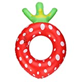 HARRYSTORE Großer Netter Aufblasbarer Erdbeere Frucht Schwimmen Ring Runder Pool Schwimmer Ring (Außendurchmesser: 60cm)