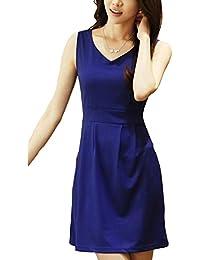 Bininbox Elegant Damenkleid ärmellos V-Ausschnitt A-Linie kurz Freizeitkleid