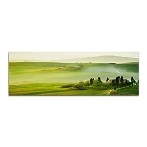 Morgen in der Toskana grüne Landschaften 150x50cm Panoramabilder auf Leinwand und Keilrahmen Wandbild auf Leinwand und Keilrahmen fertig zum aufhängen – Unsere Bilder auf Leinwand bestechen durch ihre ungewöhnlichen Formate und den extrem detaillierten Druck aus bis zu 100 Megapixel hoch aufgelösten Fotos.