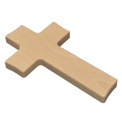 Blanko Wandkreuz Holz - Kreuz zum Bemalen - geschwungene Kanten Buche hochwertige Verarbeitung H 20cm