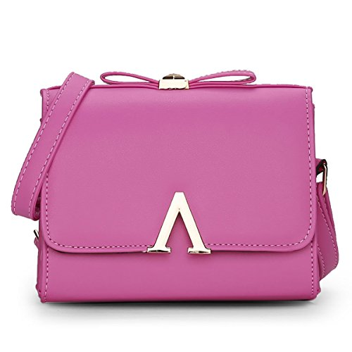 HQYSS Borse donna Pelle Donna PU leggero spalla impermeabile Messenger Bag OL regolabile Pendolari solido di colore Borsa Crossbody , purple rose red