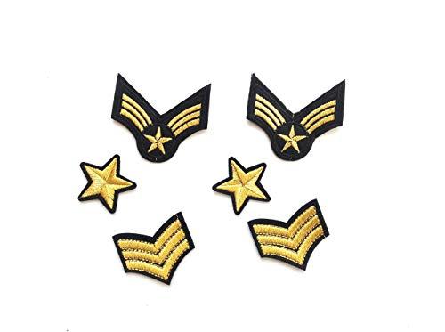 Hc enterprise - 6toppe termoadesive, stelle militari e 3 strisce, adatte per decorare i vestiti