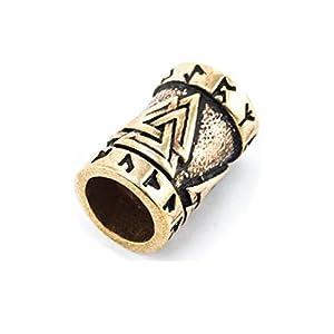 Battle-Merchant Bartperle Valknut aus Bronze – Wikinger Perle Dreadlocks Innendurchmesser 6mm