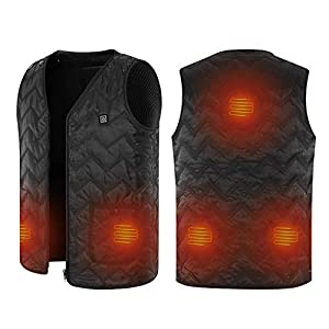 41Jqg1koS L. SS300  - Washable Heated Vest, Size Adjustable Powered by Battery Power Bank, 5 Heating Panels