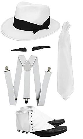 Gangster Kostüm der 1920er Reihe -Zubehör Set Deluxe - Weiß Hosenträger + Weiße Krawatte + Schwarzer Spiv/Schnurrbart + Gamaschen + Weißer (Al Capone Kostüm)