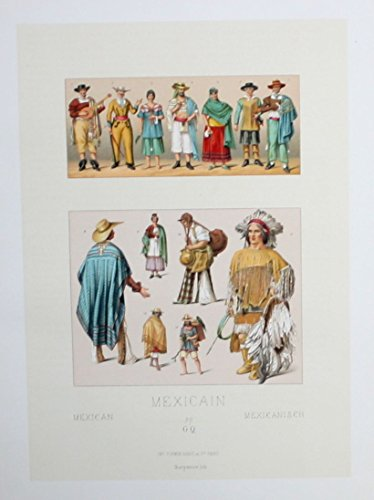 Mexiko costumes Trachten Lithographie lithograph (Mexico Trachten)