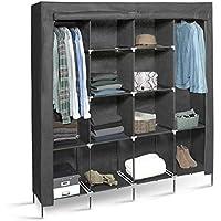 IDMarket - Grande armoire de rangement grise dressing DOUBLE penderie XXL tissu