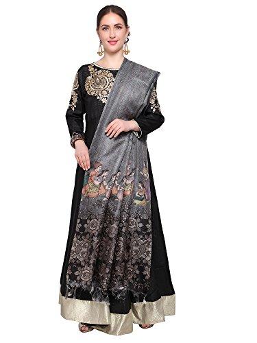 Mrinalika Fashion Cotton Silk Digital Print Dupatta (Dupattas For Womens_Salwar Suit Dgdpt07_Grey_Free...