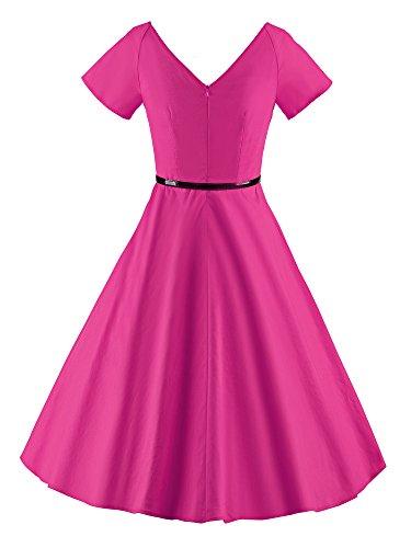 LUOUSE Rétro Vintage années 50 s Style Audrey Hepburn Rockabilly Swing, Robe de Bal à Manches Courtes avec Ceinture A026-Rose