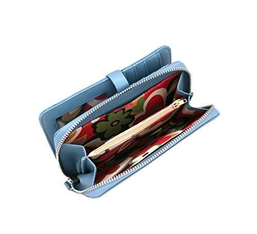 RFID borsa del portafoglio MENKAI disegno fiori Viola Nero 772F2 Grey Blue
