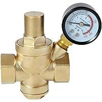 DN15 DN20 DN25 DN32 BSPPajustable latón agua flujo válvula reductora presión con manómetro - hembra