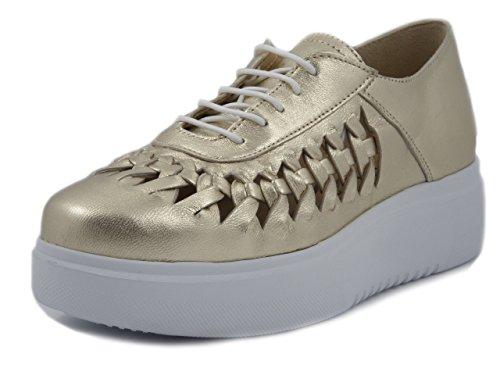 Exton, scarpe donna casual stringate francesine in pelle oro platino, suola platform 4 cm, e03p