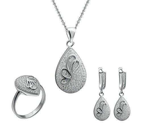 BeyDoDo Damen Ohrringe Anhänger Halskette Ring Silber 925 Träne Vintage Silber Schmuckset