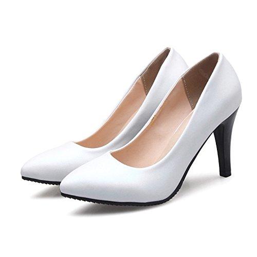 DIMAOL Scarpe Donna Similpelle Molla Pompa di Base Tacchi Stiletto Heel Punta per Office & Carriera Vestito Bianco Beige Bianco