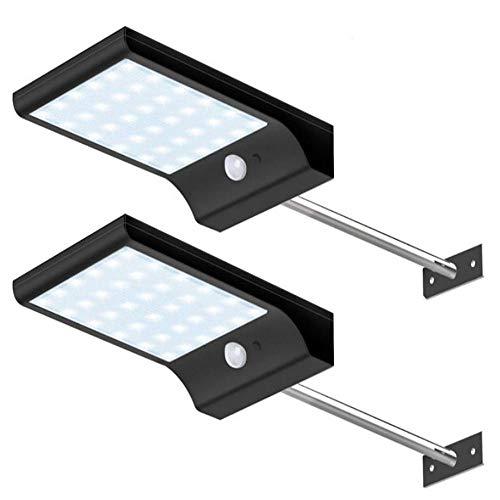 JUNSHUO 48 LED Solarleuchten im Freien, LED Wandleuchte Solar Licht Solar Wandleuchte leuchtet im Freien Gürtel Montage Pole, IP65 wasserdicht für Garten, Garage, (2 Sätze) (schwarz) -