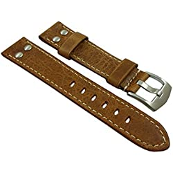 20mm Calf leather watch strap band in vintage-look with rivets in brown with buckle in silver